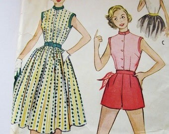 50s McCalls 9645 Short Shorts, Sleeveless Top and Full Skirt - Size 16 Bust 34