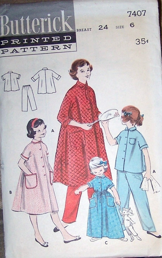 50s Butterick 7407 Girls Pajamas and Quilted Robe Size 6 Breast 24