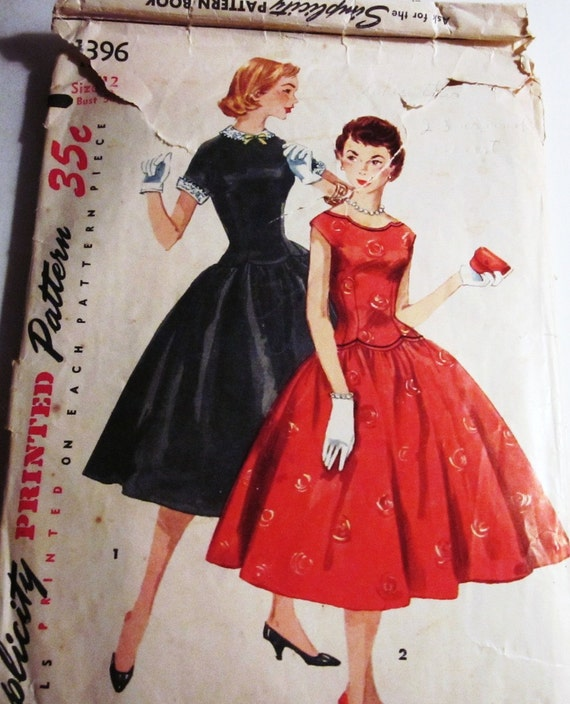 50s Simplicity 1396 Party Dress Full Gathered Skirt  Slim Bodice Size 12 Bust 30