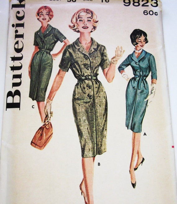 60s Butterick 9823 Eased Sheath Step In Dress Collared Wiggle 16 Bust 34