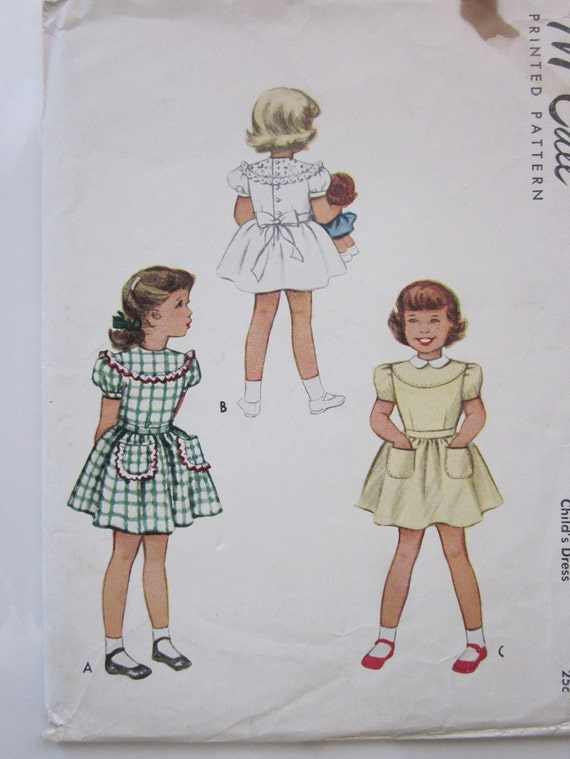 40s McCall 7366 Girls Yoke Flared Skirt with Pockets Dress Size 8 Breast 26