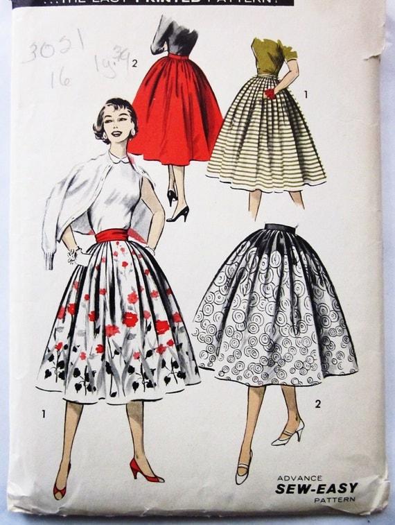 50s Advance 8108 Full Inverted Pleat Dirndl Skirt Waist 28 Hips 38