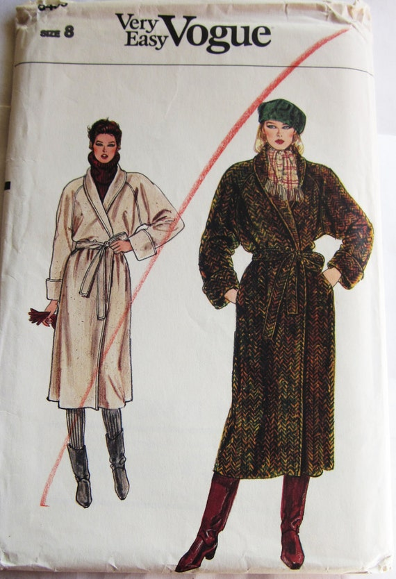 80s Vogue 8439 Long Coat, Loose Fitting with Shawl Collar Belted  Size 8 Bust 31