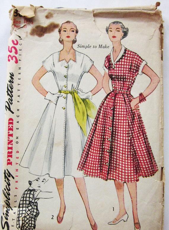 50s Simplicity 3878 Dress with Kimono Sleeves, Flared Skirt, Zig Zag Neckline - Size 16 Bust 35