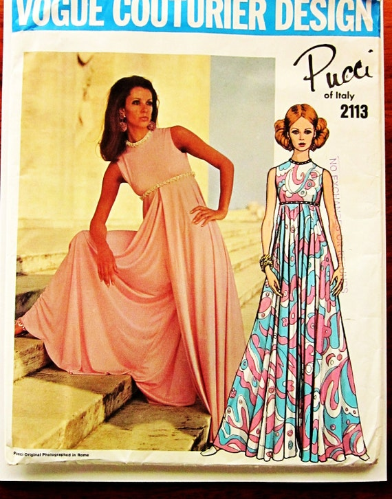 60s Vogue Couturier Design 2113 by Pucci Culotte Dress, Sleeveless Empire Waist- Size 10 Bust 32