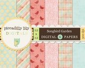 Instant Download - Songbird Garden -- 12x12 Digital Printable Paper Pack Pink Yellow Blue Pastel