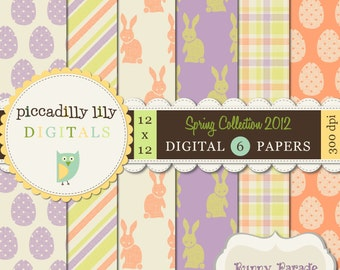 Instant Download - Bunny Parade -- 12x12 Digital Printable Scrapbook Spring Collection 2012 Paper Pack Easter