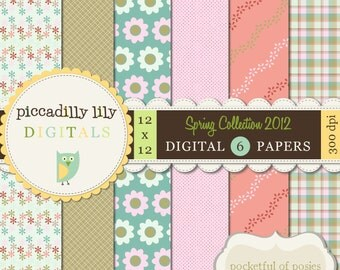 Instant Download - Pocketful of Posies -- 12x12 Digital Printable Scrapbook Spring Collection 2012 Paper Pack