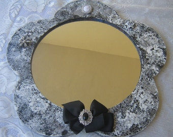 Recylced Wall Mirror Black White Silver Sponge Paint Shabby Chic