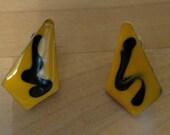 80s Black and Yellow Rocker Earrings