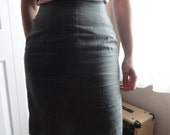 Gray Secretary Pencil Skirt