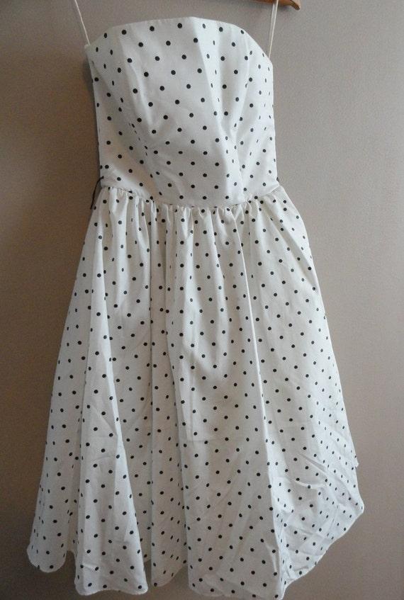 SALE - Polka dot Full Skirt 80s Dress
