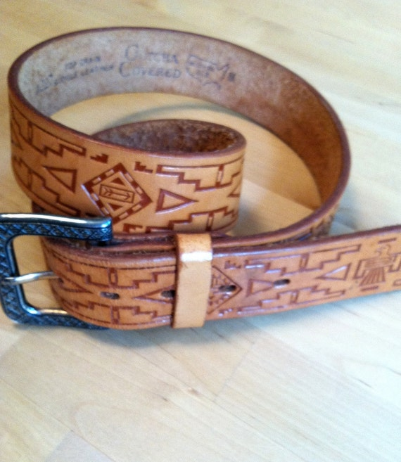 90s Native American-themed Tooled Leather Belt