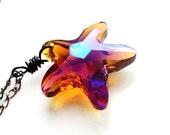 Get 15% OFF - Aurora Borealis AB Topaz Starfish Crystal Wire Wrapped Pendant Gunmetal Necklace - Halloween SALE 2015
