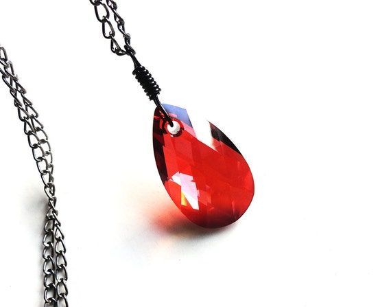 Swarovski Red Magma Teardrop Gunmetal Necklace (Get 10% OFF with COUPON CODE)