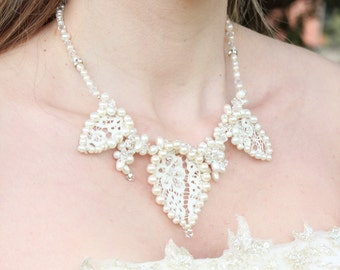 Lace, Crystal & Pearl Wedding/Bridal Necklace