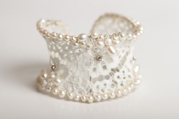 Wedding/Bridal Bracelet/Cuff  Lace and Pearl, with Diamantes, Cream/Ivory