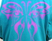 SALE 20 percent off Zip Front Hoodie in Turquoise with Eye of the Butterfly--Size XL
