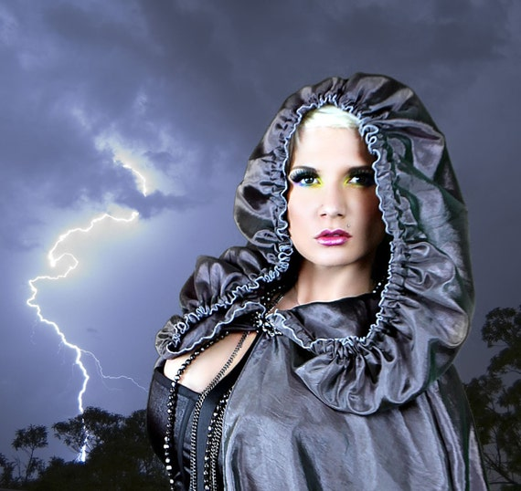 Womens Cloak Cape in Charcoal Shimmer Organza