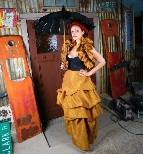 SALE 20 Percent Off Steampunk Costume Ball Gown Skirt and Ruffled Shrug in Gold Crushed Taffeta