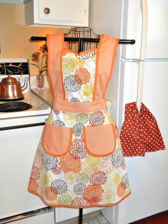 Tangerine Floral Vintage Inspired Full Apron