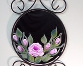 Decorative Wall Mirror with Pink Roses