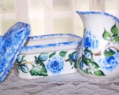 Cream and Sugar Set in Hand Painted Blue Roses