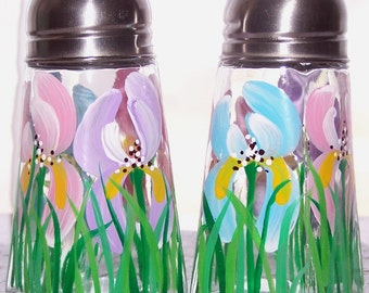 Salt And Pepper Shakers with Irises