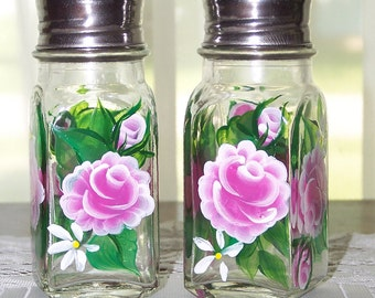 Salt and Pepper Shakers with Hand Painted Pink Roses
