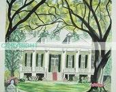 Tezcuco Plantation | 11 X 14 Signed Art Print | Louisiana Artist Kristi Jones | antebellum home plantation spring time azaleas oak trees