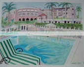 The Beverly Hills Hotel | 11 x 14 Signed Watercolor Print | pool celebrity Hollywood California Los Angeles tropical pink blue palm trees