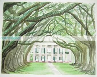 Oak Alley Plantation - 8 X 10 Watercolor Print by Louisiana Artist Kristi Jones