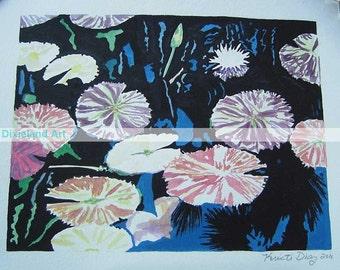 Water Garden - 8 x 10 Print of Original Watercolor by Louisiana Artist Kristi Jones