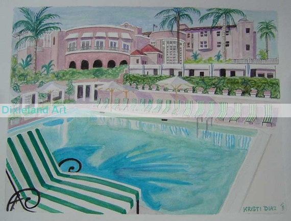 The Beverly Hills Hotel   11 x 14 Signed Watercolor Print   pool celebrity Hollywood California Los Angeles tropical pink blue palm trees