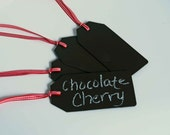 Chalkboard Gift Tag -- Chalkboard Label -- Chocoalte Brown with Red Gingham Ribbon