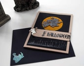 Happy Halloween Greeting Card -- Halloween Card -- Witch on Broom Full Moon