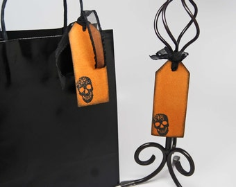 Embossed Skull Gift Tags -- Treat Bag Tags -- Hand Stamped -- Deco Skull