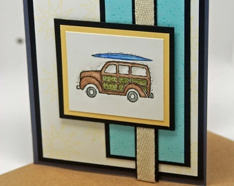 SALE  Watercolor Woodie -- Hand Colored -- All Occasion Greeting Card