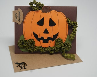 SALE Plump Pumpkin Greeting Card -- Jack O Lantern with Ribbon Vines Happy Halloween