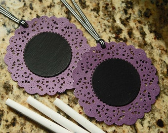 Chalk It Up Chalkboard Tags -- Set of 2 -- Violet Purple Doilies Black White Gingham Ribbon