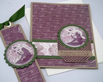 Having You As A Friend Greeting Card -- Blank Card with Matching Bookmark -- Purple Floral Bonjour Script