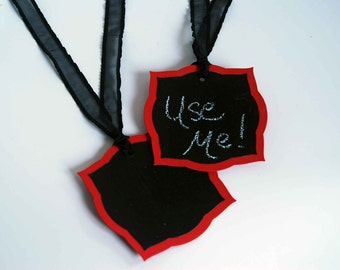 Chalk It Up Chalkboard Tags -- Set of 2 -- Bright Red and Sheer Black Ruffled Ribbon
