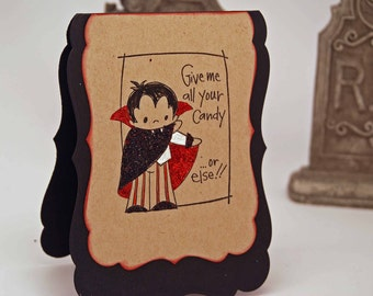 SALE Give Me All Your Candy Greeting Card -- Halloween Card -- Vampire Greeting Card Glitter Sparkle