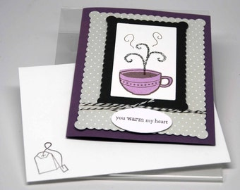 SALE Tea For You Friend Card with Gift Card or Tea Bag Holder -- Hand Stamped -- Greeting Card -- Deep Plum Lavender Polka Dot Friend Family
