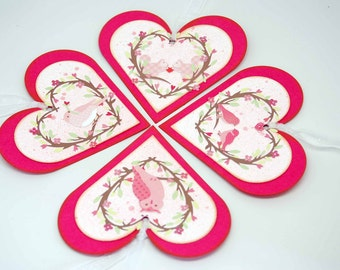 Raspberry Rose Animal Love Heart Tags OOAK -- Set of 4 -- Sweet Animals Glitter Heart Vines