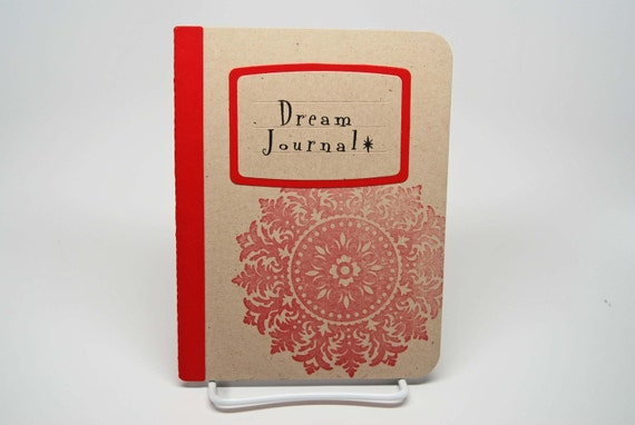 Red Medallion Handmade Dream Journal -- Gift for the Writer  -- Gift for You