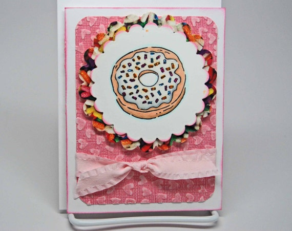 I Love You More Than Donuts -- Hand Stamped -- Greeting Card -- Vanilla Donut