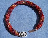 SALE Beaded Bracelet - Red Jasper Netted Spiral