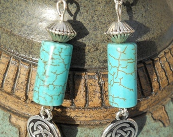 Turquoise Celtic Drops - Earrings