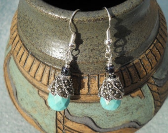 Turquoise Marcasite Drops - Earrings